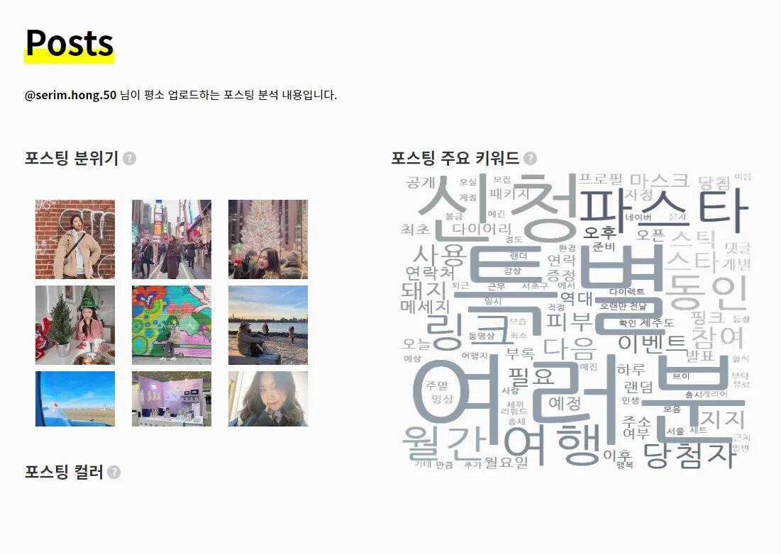 홍세림 포스팅 분위기 / 주요 키워드 / 포스팅 컬러